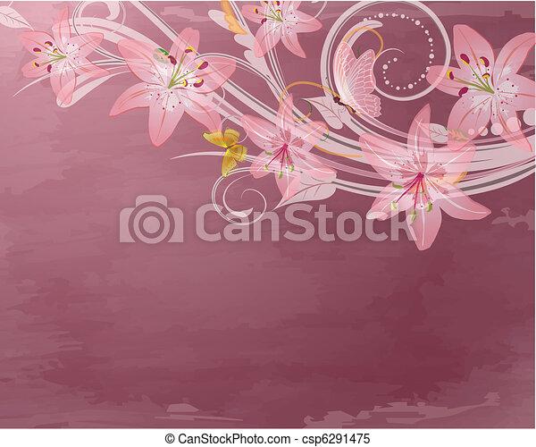 Flores de fantasía rosadas retro - csp6291475