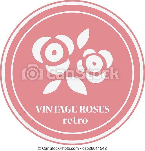 rosa, fiori, logo. - csp26011542