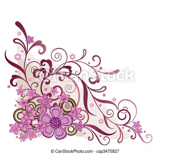 rosa, floral, esquina, elemento del diseño - csp3475827
