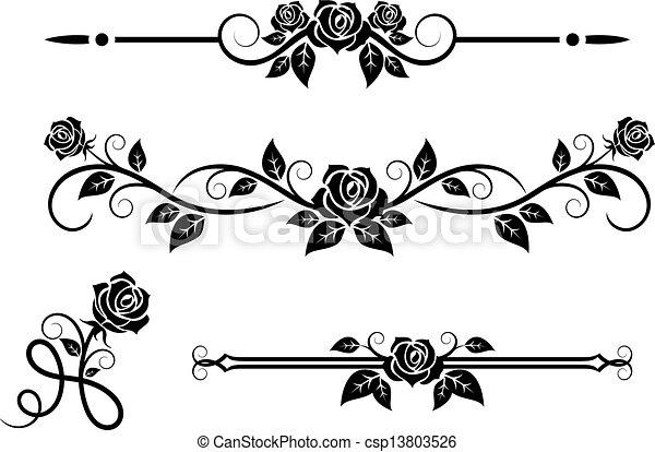 rosa, flores, elementos, vendimia - csp13803526