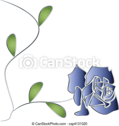 rosa, folhas, vetorial, prata, caule - csp4131020