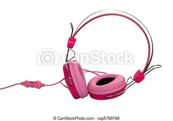 Auriculares rosados aislados en el fondo blanco. - csp5769768