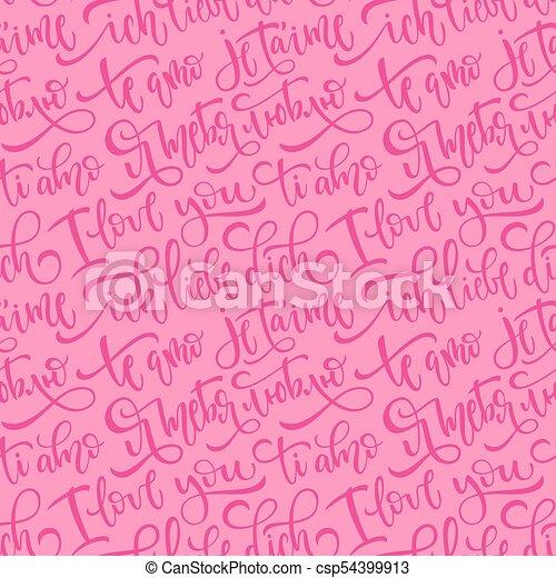 Un Patrón De Vectores Sin Costura Rosa Con Frases Que Te Amo