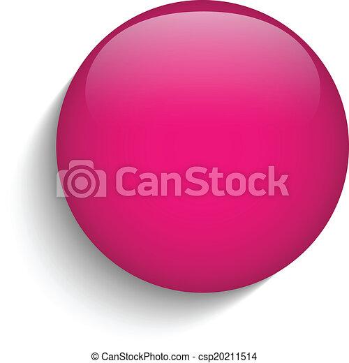 Pink Glaskreis-Taste Ikone - csp20211514