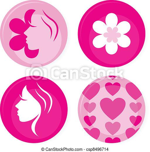rosa, heiligenbilder, freigestellt, vektor, weibliche , weißes, oder, abzeichen - csp8496714