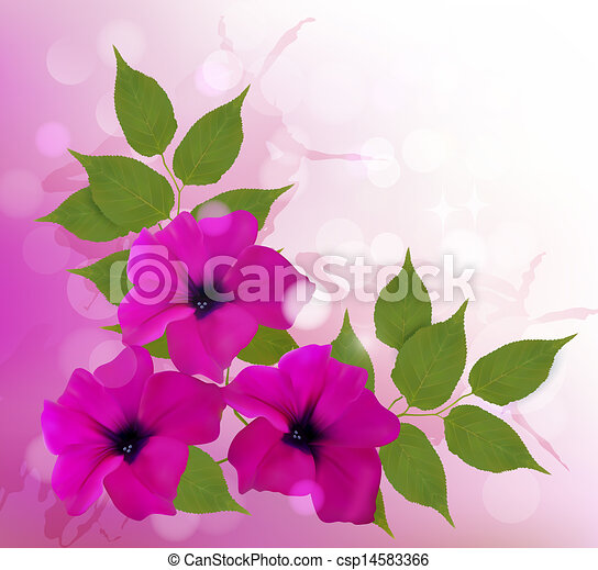 Antecedentes naturales con hermosas flores rosas. Ilustración de vectores. - csp14583366