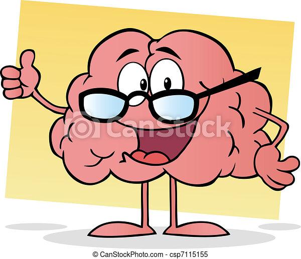 rosa, hjärna, bära glasögon - csp7115155