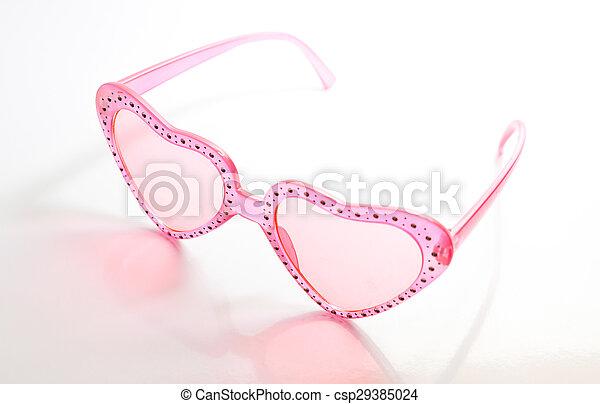Rosa, hjärta, solglasögon, format, bakgrund, vit. Rosa