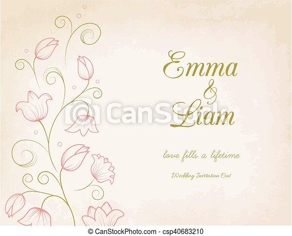 Rosa Hochzeitskarten Blumen Lilie Karte Rosa Swirly Weinlese