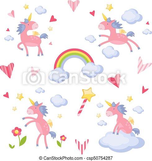 Sammlung von Illustrationen mit einem rosa Einhorn - csp50754287