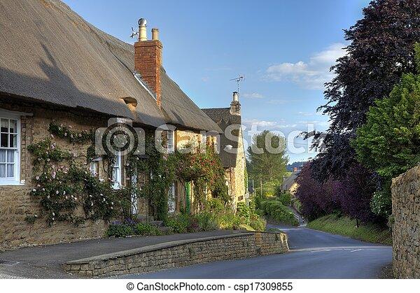 Rose cubrió la casa de campo, Inglaterra - csp17309855