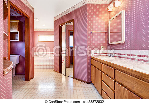 Rosa, inneneinrichtung, badezimmer, luxus, design. Trimmen ...
