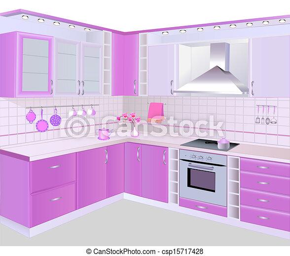 rosa interior azulejos muebles cocina vector - Azulejos Rosa