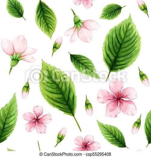 rosa, kirschen, fruehjahr, blätter, seamless, aquarell, hintergrund., grün, muster, weisse blumen - csp55295408