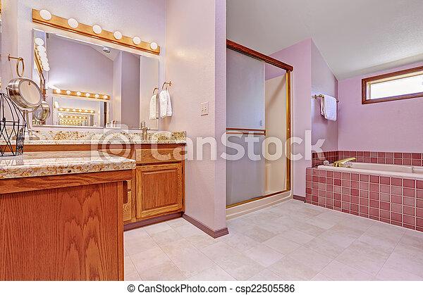 Rosa, licht, badezimmer, inneneinrichtung, ton. Rosa, badezimmer ...