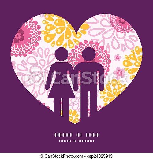 Vector Pink Field Blumen Paar in Liebes Silhouetten Rahmenmuster Einladung Grußkarten Vorlage - csp24025913