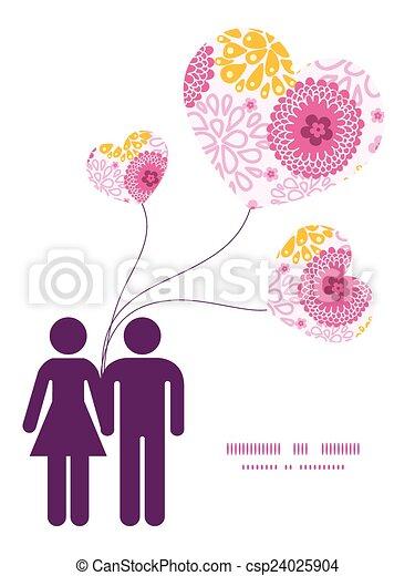rosa, liebe, muster, paar, gruß, feld, silhouetten, vektor, schablone, einladung, blumen, rahmen, karte - csp24025904