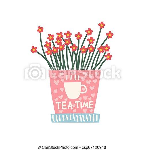 Flores rojas creciendo en un lindo pote rosado, elemento de diseño para ilustración de decoración interior natural - csp67120948