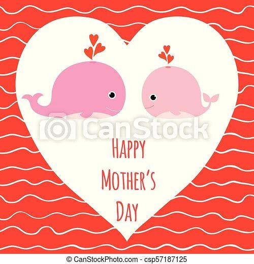 Rosa Lindo Madre Ballenas Saludo Vector Plano De Fondo Ondas Corazones Día Tarjeta