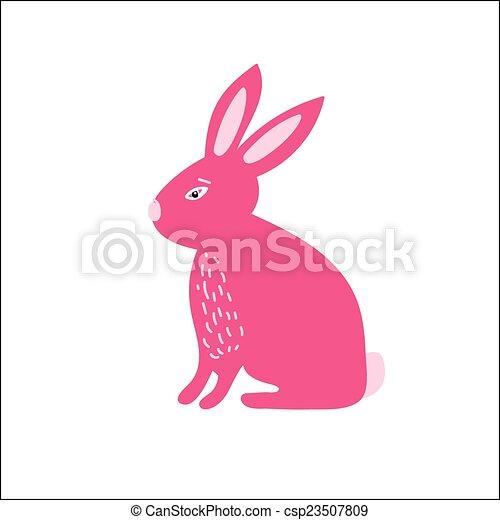 Conejito de conejito rosa lindo. Ilustración de vectores para el este - csp23507809