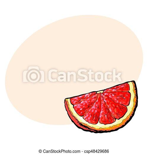 Cuarto, segmento, un trozo de pomelo rosado maduro, naranja roja - csp48429686