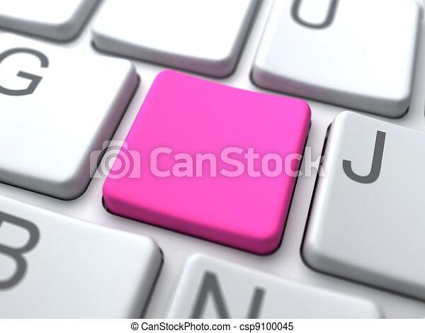 rosa, medios, concept., social, blanco, keyboard., botón - csp9100045