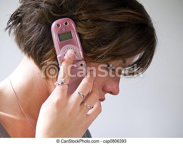 rosa, mobiltelefon - csp0806393