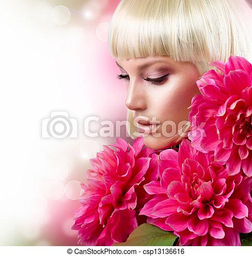 rosa, moda, grande, biondo, ragazza, fiori - csp13136616