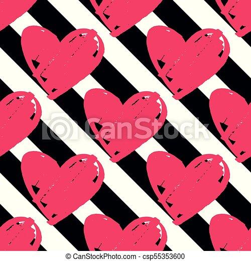 Rosa Modello Zebrato Vettore Sfondo Nero Piastrella Cuori Bianco