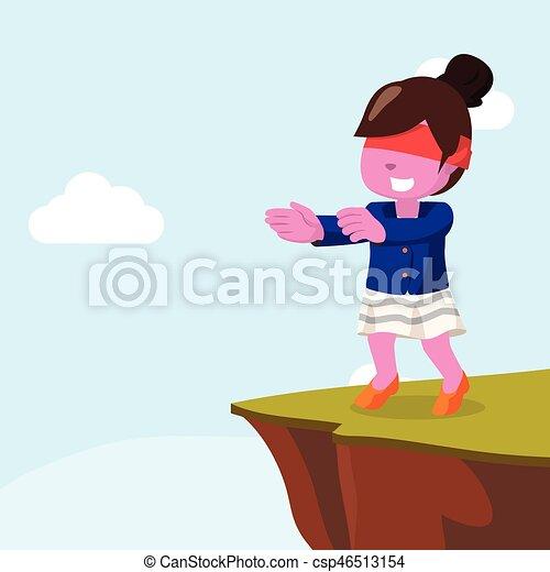 Mujer de negocios rosa caminando con ciego - csp46513154