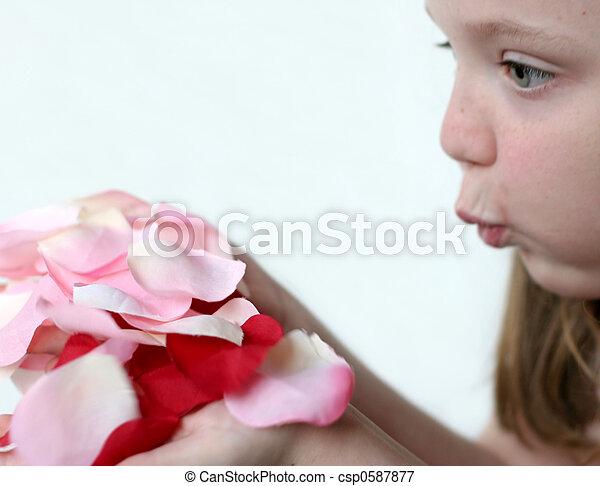 Chica y pétalos de rosas - csp0587877