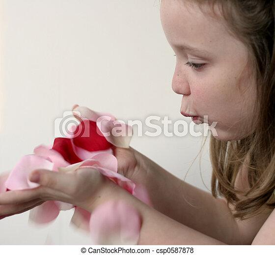 Chica y pétalos de rosas - csp0587878