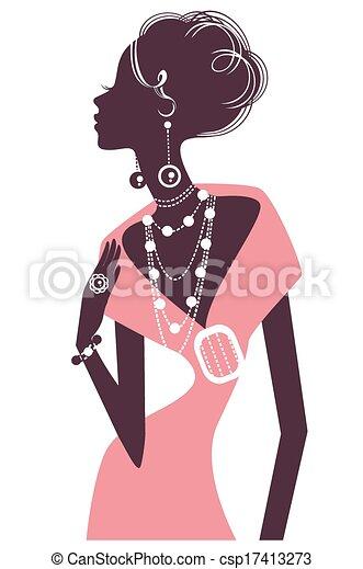 Retro chica con vestido de noche rosa - csp17413273
