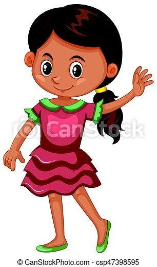 Chica con vestido rosa - csp47398595