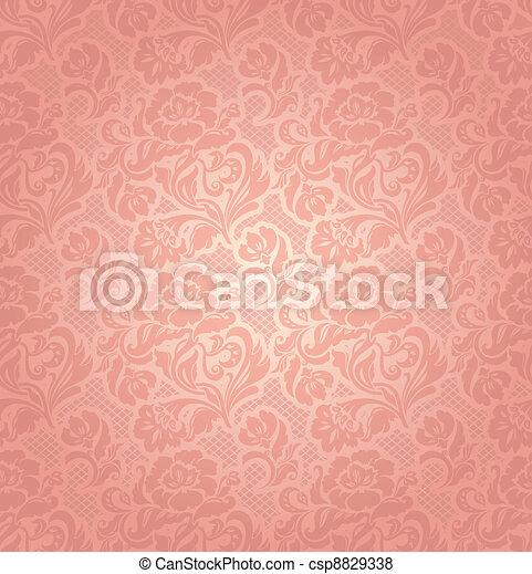 rosa, ornamentale, fiori, laccio, fondo - csp8829338