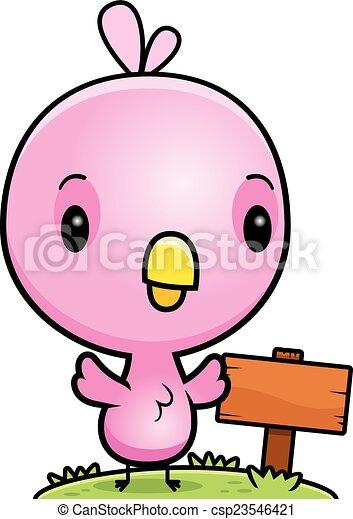 Un cartel de madera de pájaro rosa - csp23546421