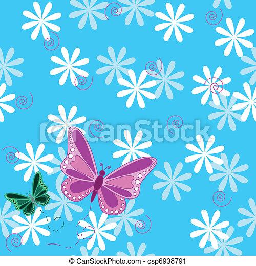 rosa, papillon, blumen, seamless - csp6938791