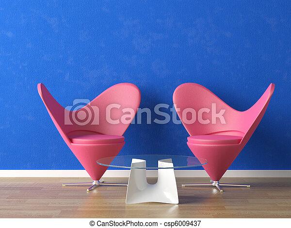 Asientos rosados en la pared azul - csp6009437