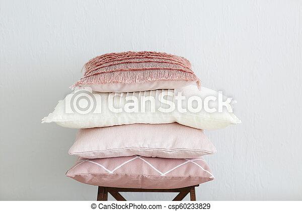 rosa, parete, bianco, cuscini, fondo - csp60233829