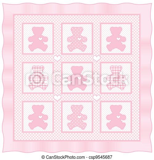 Rosa, pastel, colcha, osito de peluche, bebé. Rosa, pastel, border ...
