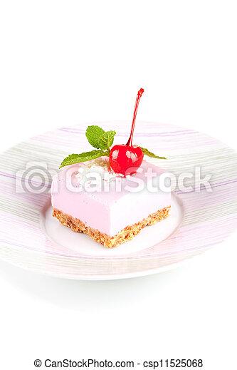 Rosa, pastel de queso, menta, cereza de maraschino. Rosa, placa ...