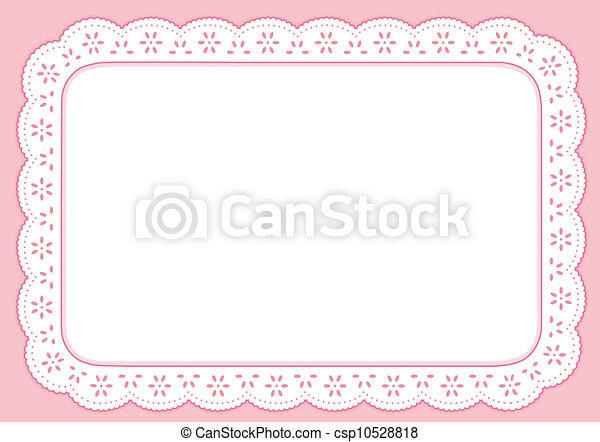 rosa, pastel, mantel individual, encaje, ojete - csp10528818