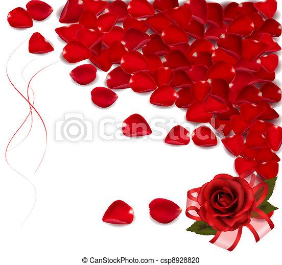 rosa, petals., fondo, rosso - csp8928820