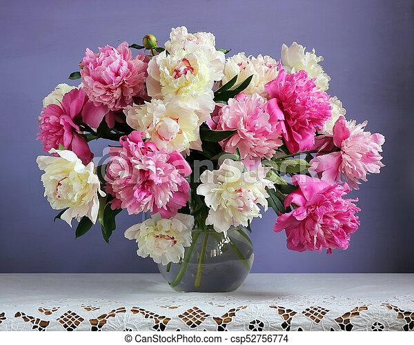 Rosa, pfingstrosen, lila, vase., hintergrund., weisse blumen. Rosa ...