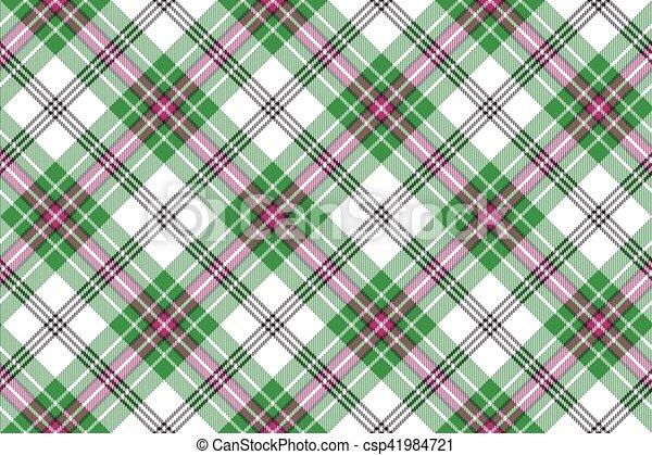 rosa, plaid, diagonale, seamless, sfondo verde, tartan, bianco - csp41984721