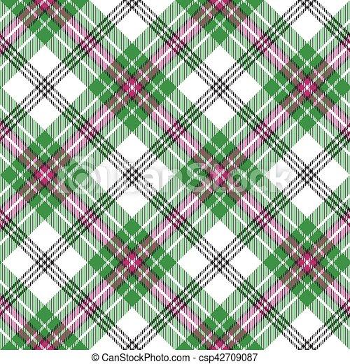 rosa, plaid, modello, diagonale, seamless, verde, tartan, bianco - csp42709087