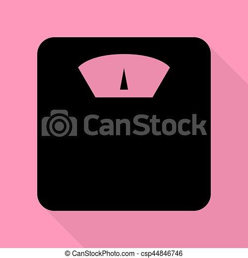 Señal a escala del baño. icono negro con una sombra plana en el fondo rosa. - csp44846746