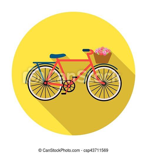 Bicicleta rosa con icono en estilo plano aislado en fondo blanco. El símbolo del país de Francia de la ilustración de vectores. - csp43711569