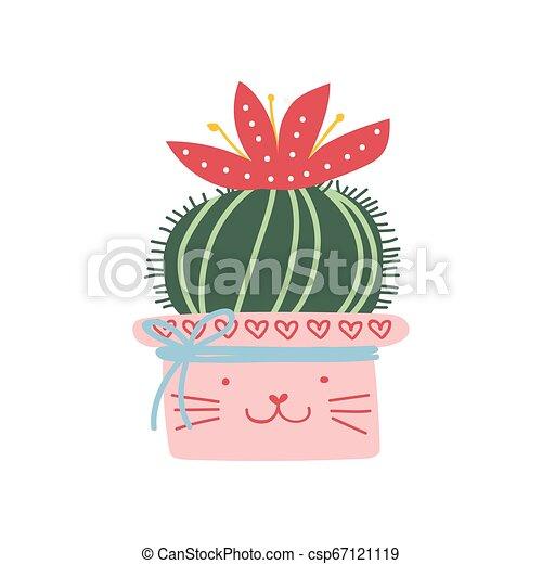 Planta de actus floreciente creciendo en hierba rosa, elemento de diseño para ilustración de vectores de decoración interior natural - csp67121119