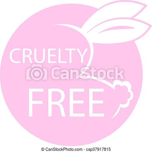Animal crueldad libre de diseño de iconos. Diseño de símbolos libres de crueldad animal. Producto no probado en signo de animales con conejo rosa. Ilustración de vectores. - csp37917815